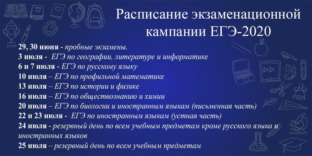 Расписание экзаменов ЕГЭ-2020